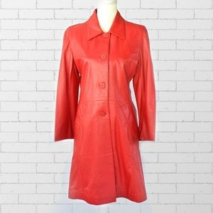 VINTAGE Luxury Custom Red Leather Trench Coat
